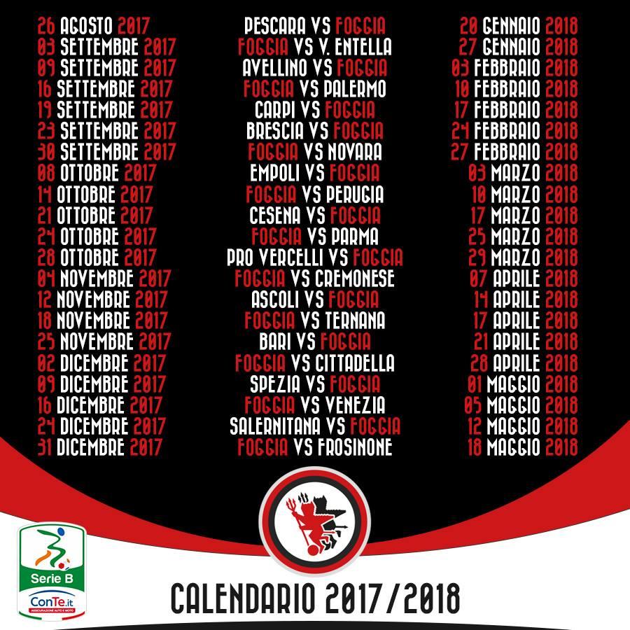 Calendario Serie B 18 19.Calendario Serie B Foggia Calendario 2020